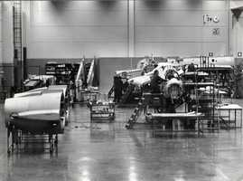 Production line of the Saab 35 S Draken