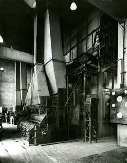Power station boiler room with coal-feed equipment in 1938. Photo: Foto Roos.