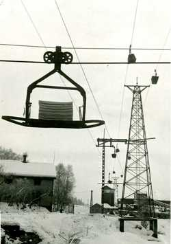An aerial cableway carried chips, coal, sulphur and limestone from the harbour to the works.