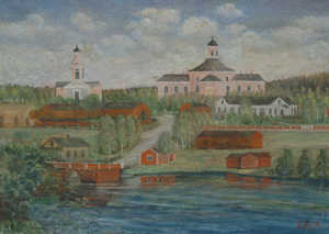 Jämsä church hill at the end of the 19th century. A painting in the church museum of Jämsä.