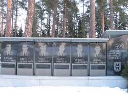 The top skiers of Jämsänkoski, memorial designed by Martti Hänninen and produced by Kontupohjan kiviveistämö (Kontupohja masonry) in 1995.
