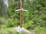 Rauli Jakobsson,  (c) Rauli ,  Teiden risteyksessä puinen tienviitta